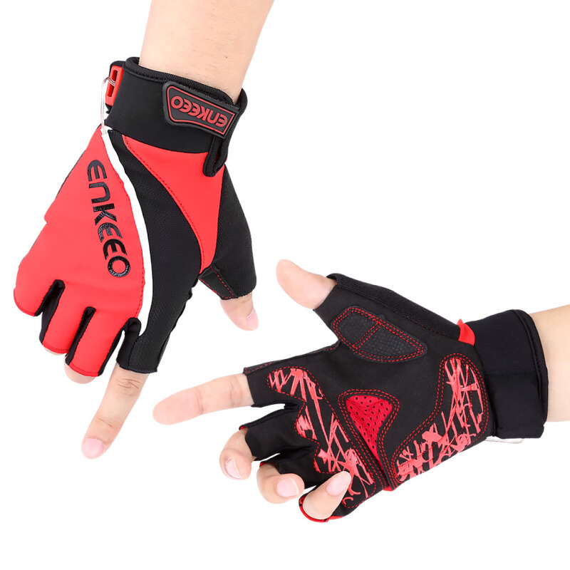 Enkeeo Cycling Gloves with LED Lights-M