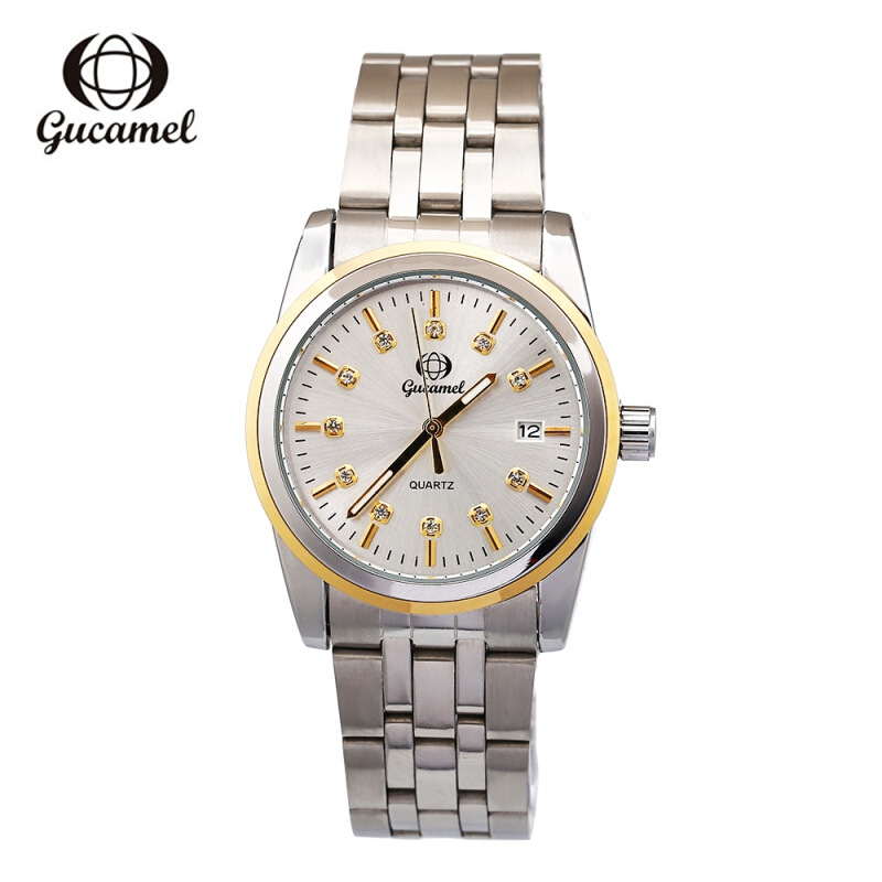 Gucamel B008 Men Quartz Watch Artificial Diamond Dial Date Display Wristwatch