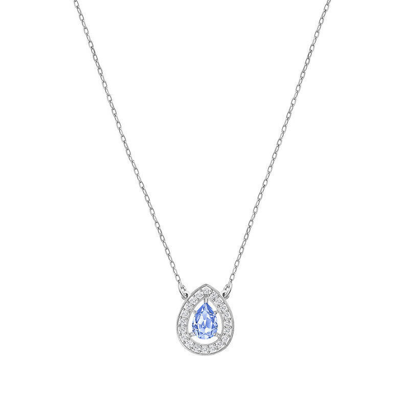 SWAROVSKI Attract Light Platium-Plated Blue Pear Necklace 5197465 Jewelry(Perhiasan)