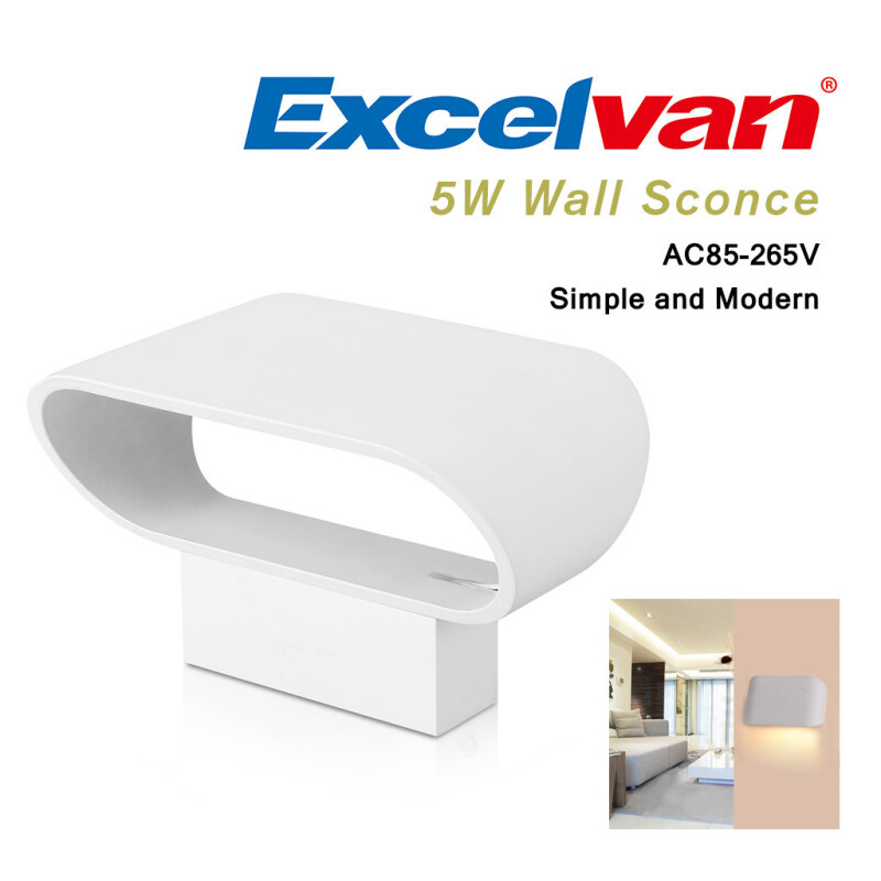 Excelvan 5W Wall Sconce Night Light,Aluminum Light Fixture,Warm White ,Simple & Modern & Creative,AC85-265V,Widely Use,Suitable for Hallway,Pathway,Stairs,Balcony,Wall