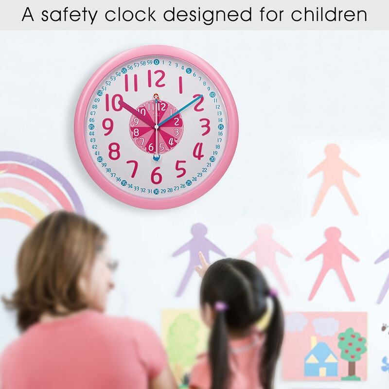 TXL 12 Inch Plastic Kids Wall Clock Slient Safe Colorful Cartoon Clcok Children Wall Clock Funny Interesting Child Learn Clock