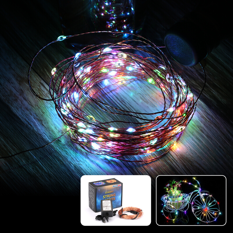 Excelvan® 10M 100 LED Copper String Lights, Auto-Chasing RGB Color Flash, Flexible Copper Wire Light LED Starry Lights Fairy Lights Tiny Decorative Lights, For Wedding,Christmas, New Year\\\'s and Bir