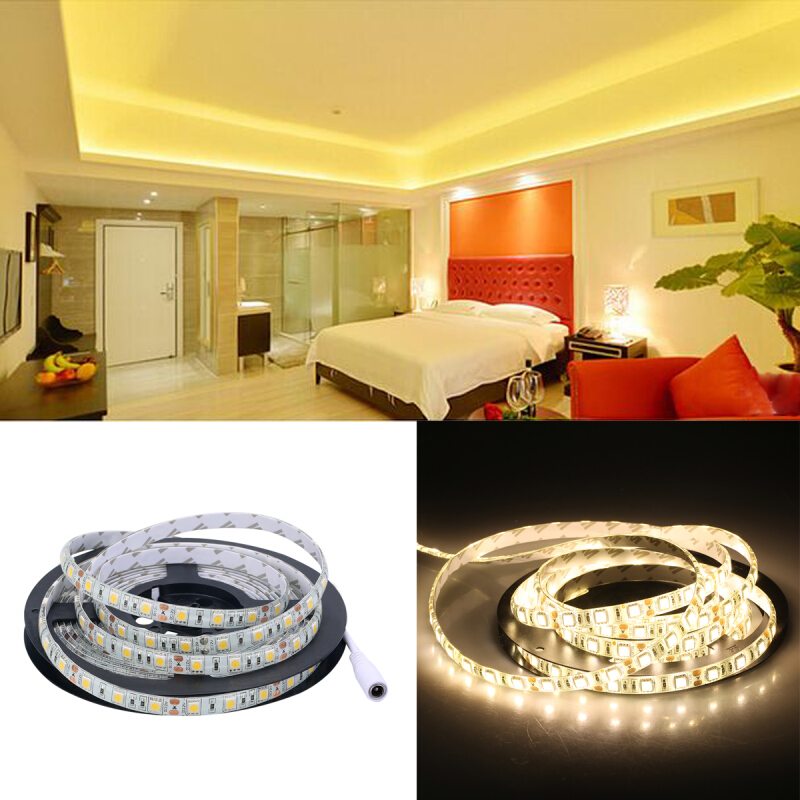 Excelvan® 16.4ft 5M Waterproof Flexible strip SMD5050 300LEDs Warm White LED Light Strip Kit, IP65, Brightness Dimmable, 10 Lighting Modes Optional, 24Key IR Remote Control+ 5A Power Adapter, Warm Whi