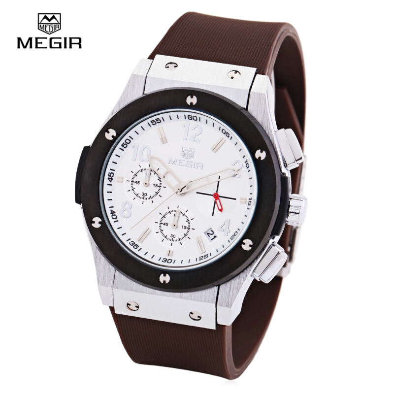 MEGIR 3002 30m Water Resistant Men Quartz Watch with Silicone Band