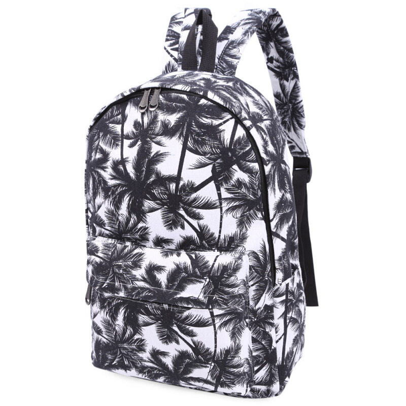 Preppy Style Girl Graffiti Print Canvas Travel Shopping Portable Bag Handbag Tote School Backpack PALM LEAF