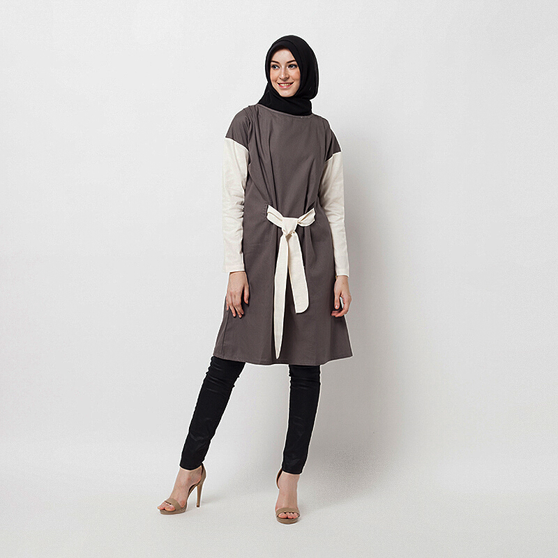 HAZELNUT Manon Tie Knot Tunic Grey [One Size]