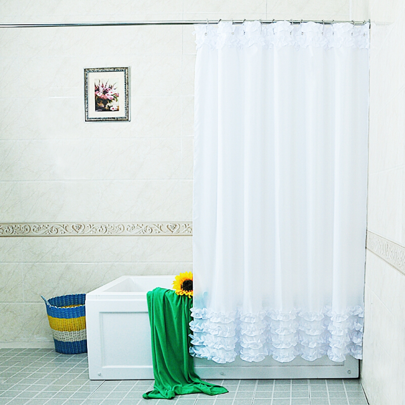 Home Decoration Shower Curtain Lace Decor  Waterproof Bathroom Cover with 12Pcs Hooks