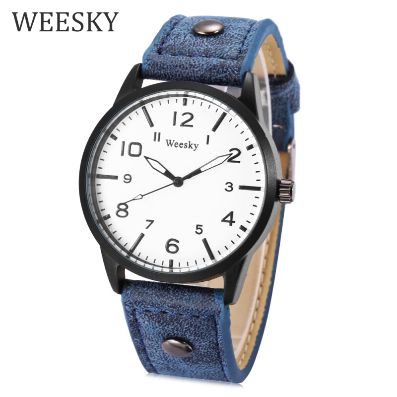 WEESKY 1203 Male Quartz Watch Luminous Pointer Daily Water Resistance Leather Band Wristwatch