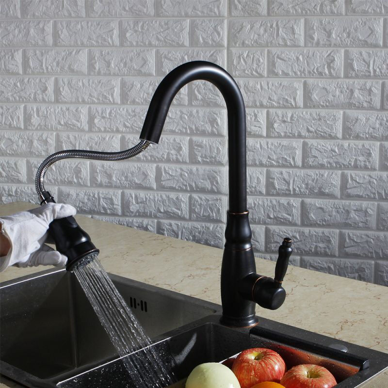 LANGFAN J6543 Black Color Kitchen Sink Pull Out Faucet