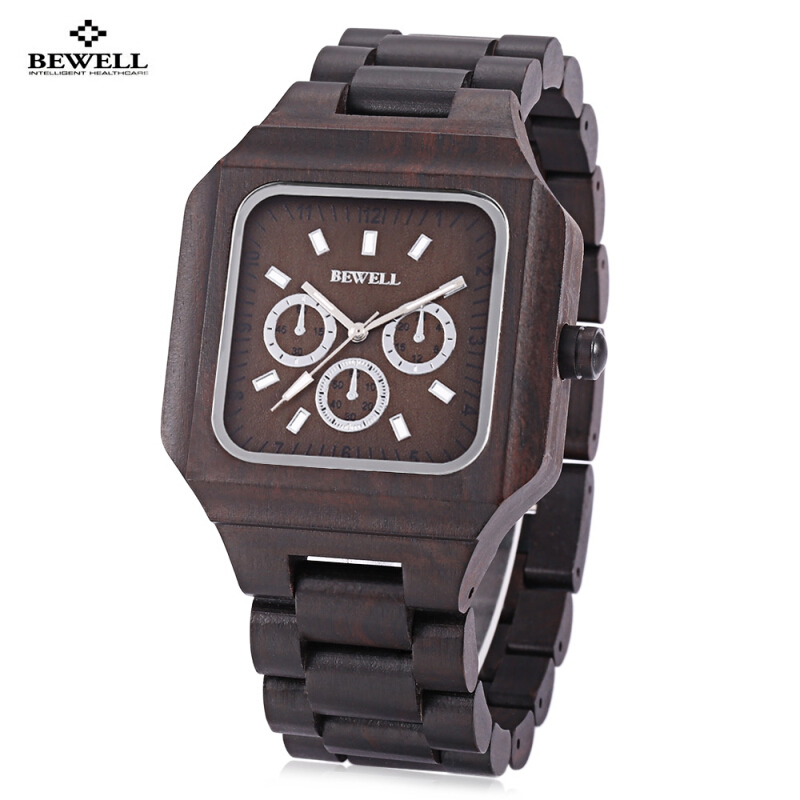 Bewell ZS - W001A Male Wooden Quartz Watch Luminous Decorative Sub-dial Japan Movt Wristwatch
