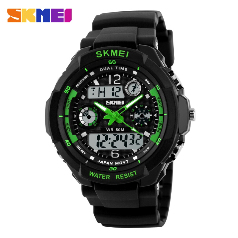 Skmei 0931 LED Sports Watch with Double Japan Movts 30M Water Resistant Plastic Watchband L