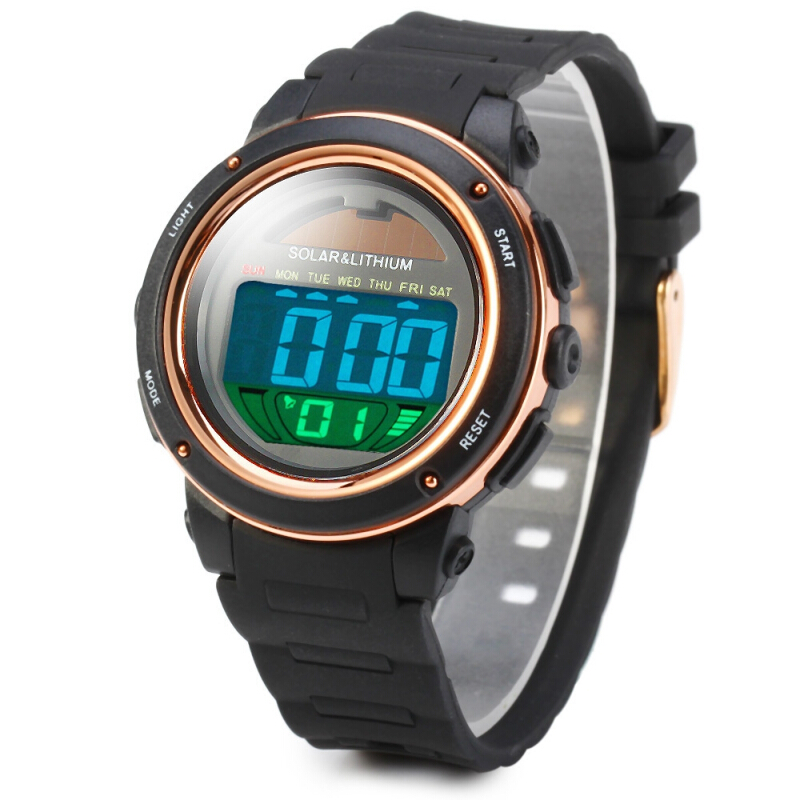 Skmei 1096 5ATM Water Resistant Solar Power LED Sports Watch with Backlight Alarm