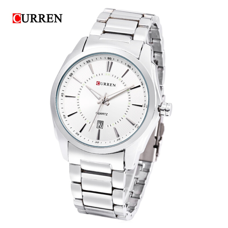 CURREN 8072 Male Quartz Watch Luminous Pointer Date Display 3ATM Stainless Steel Band Wristwatch