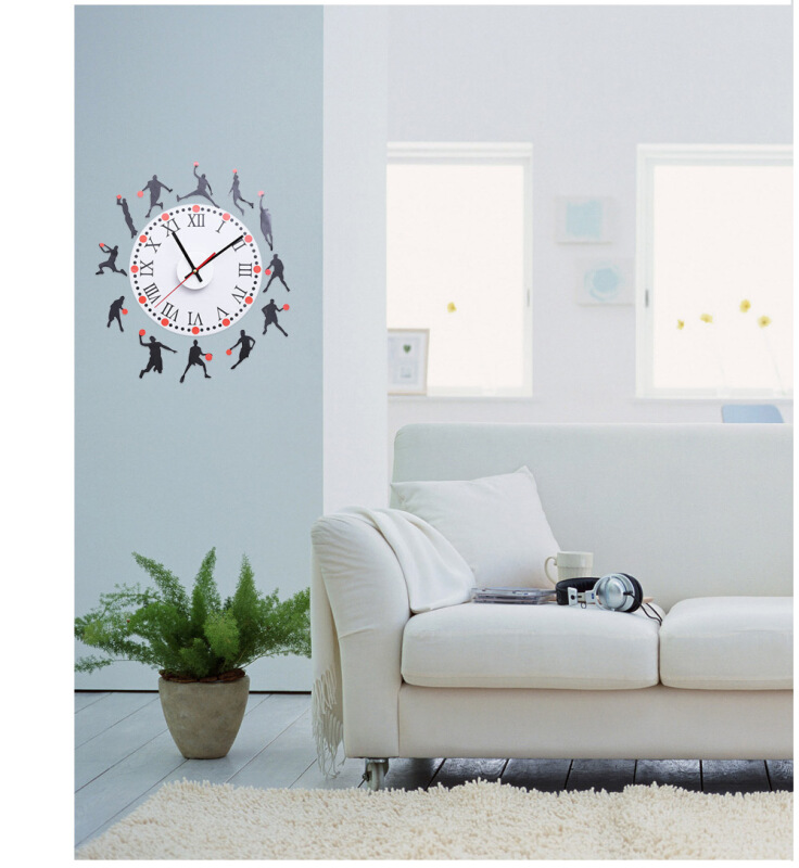 Fashion Creative Basketball Sketch Pattern Removable Wall Clock Sticker Decal for Living Room Bedroom