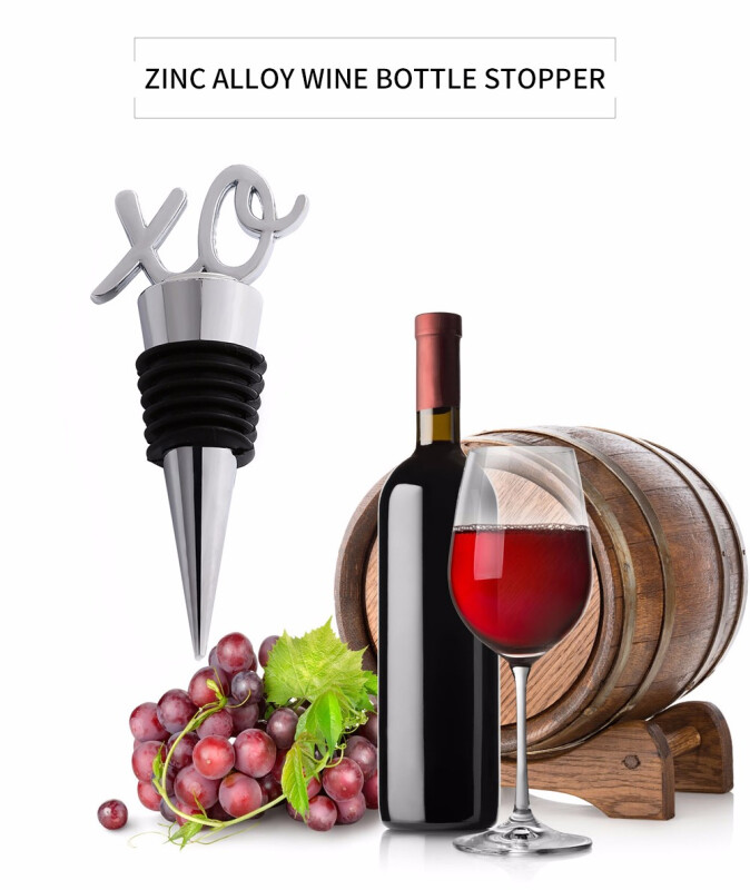 Zinc Alloy Wine Bottle Stopper Sealer with Letter Shaped