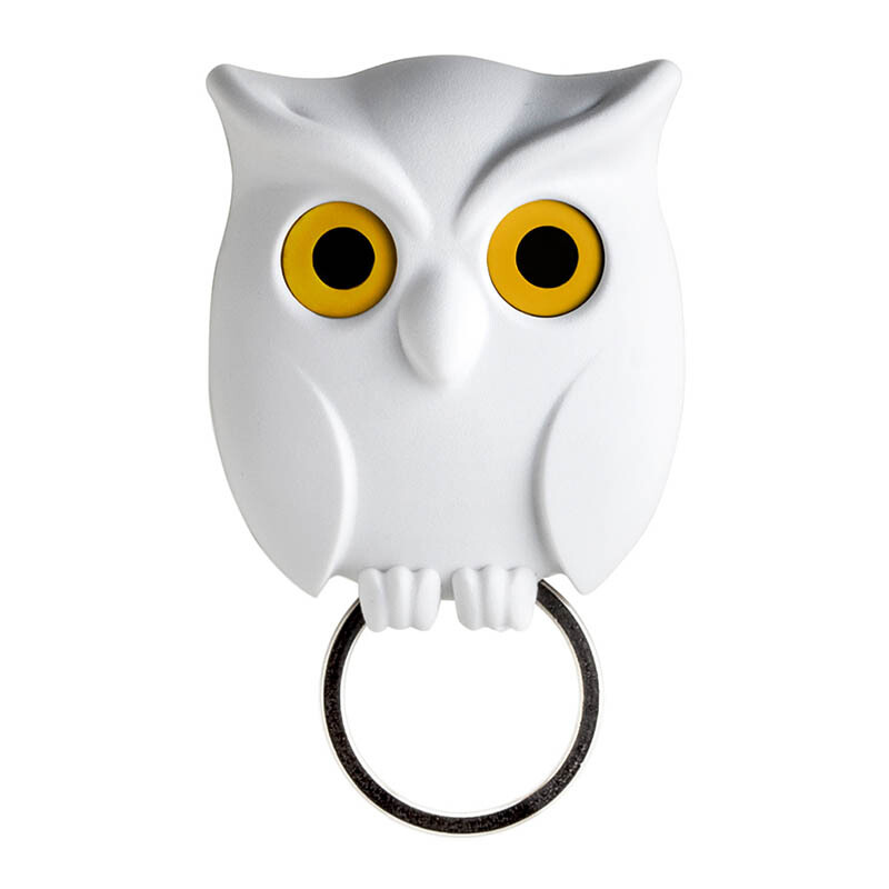 QUALY Night Owl Key Holder - White/QL10195WH