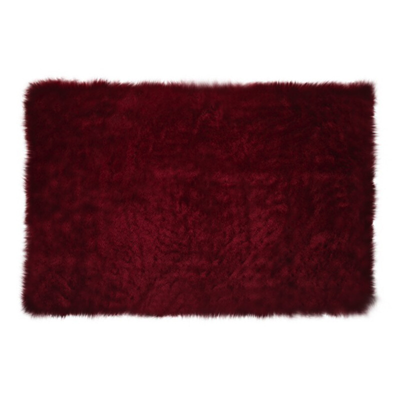 GLERRY HOME DÉCOR Square Maroon Fur Rug - 150x100Cm