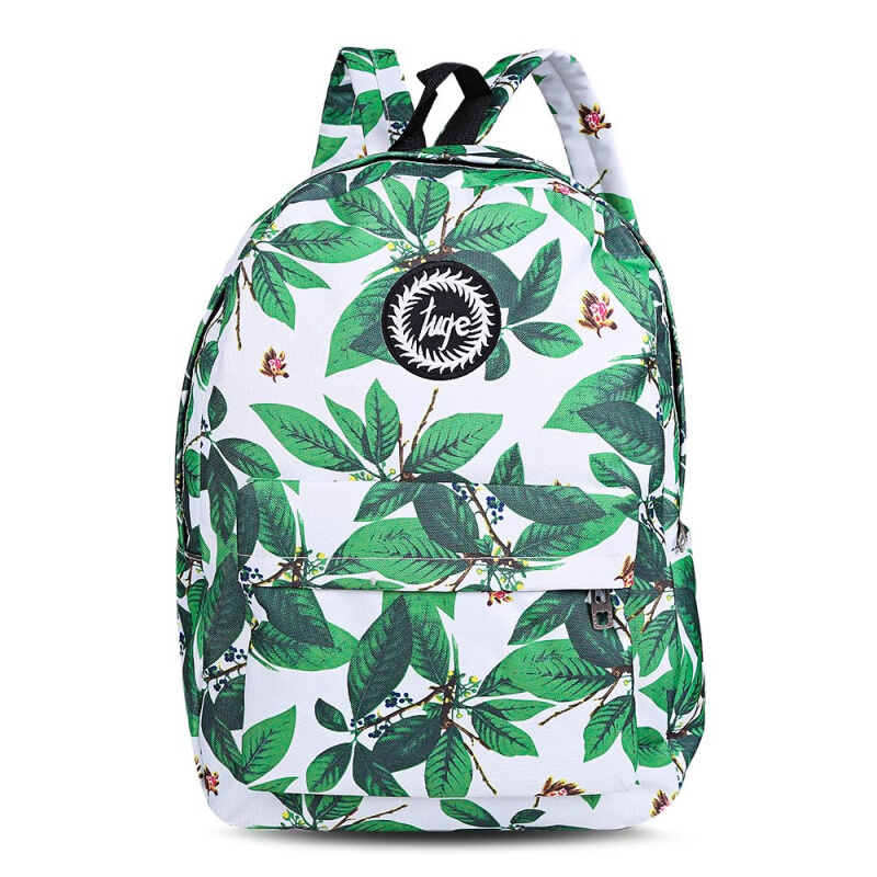 Leaf Flower Print Canvas Letter Ladder Lock Zipper Portable Backpack for Girl VERTICAL