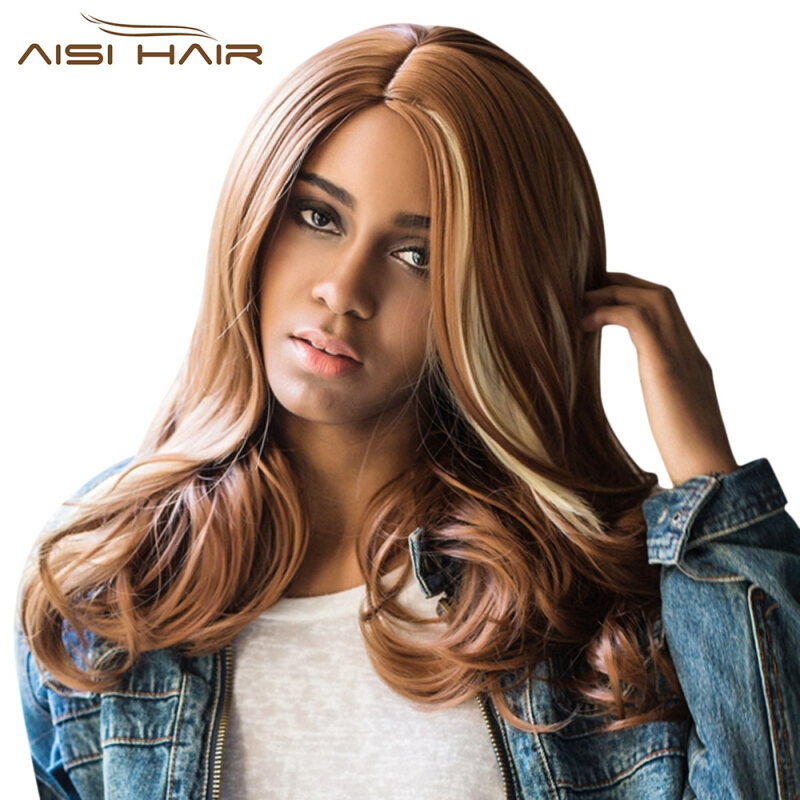 AISIHAIR Makeup Dance Party Costume Cosplay Ladies Long Side Parting Curly Wig-FLAXEN