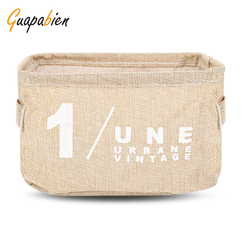 Guapabien Cotton Linen Storage Basket Table Organizer Bag