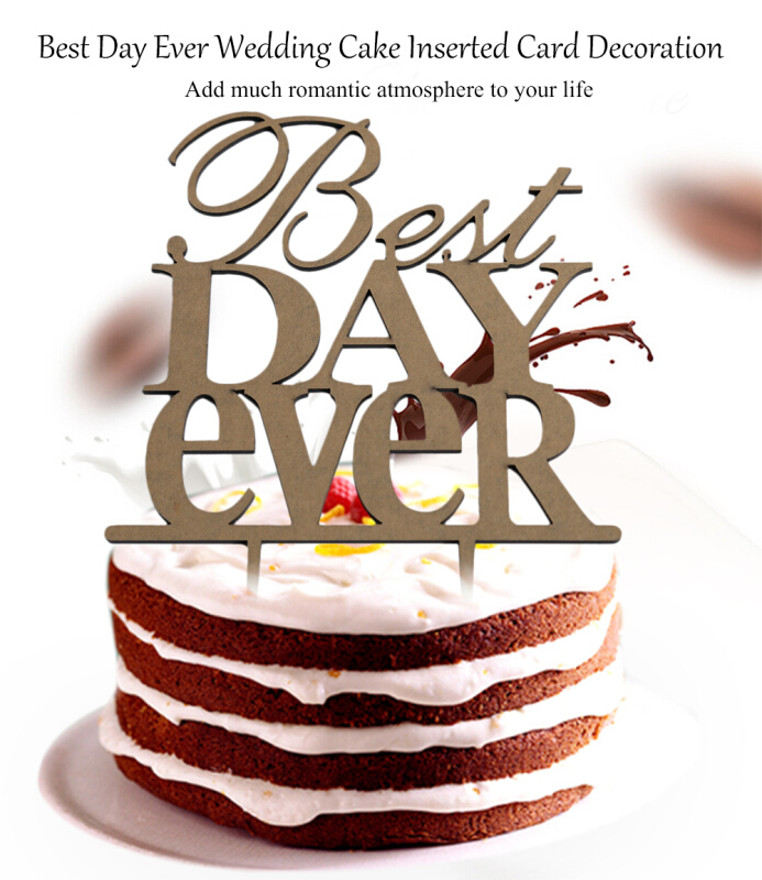 Acrylic Best Day Ever Wedding Cake Inserted Card Decoration