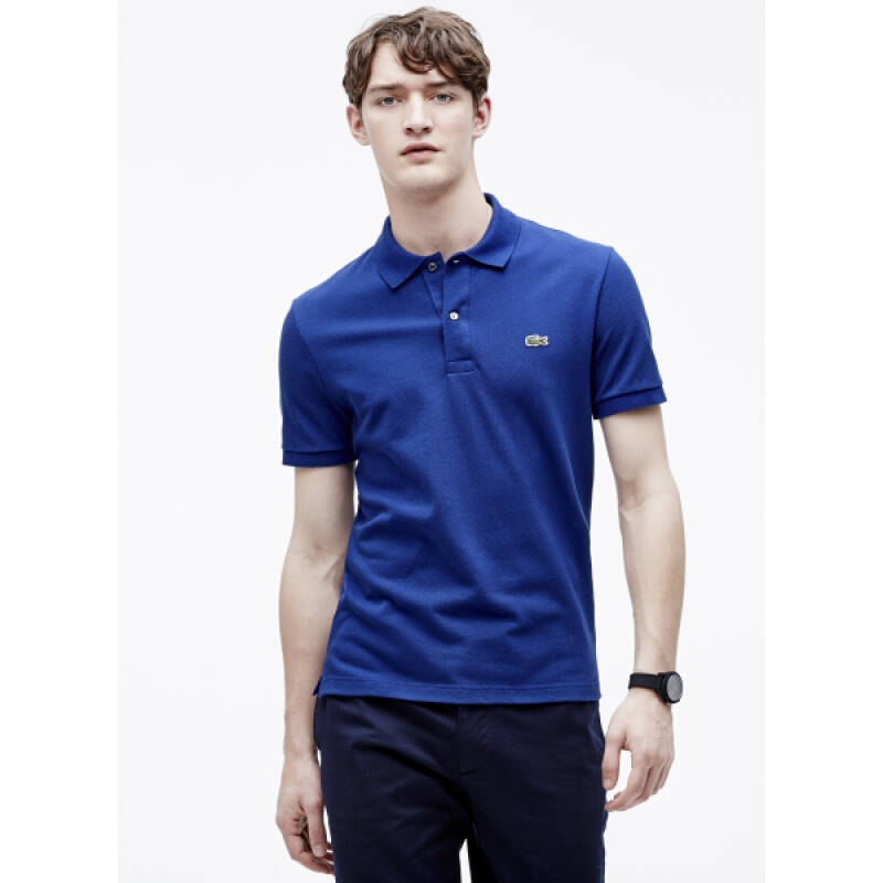 LACOSTE Men's Classic Fit Polo in Petit Pique - Ocean [S]