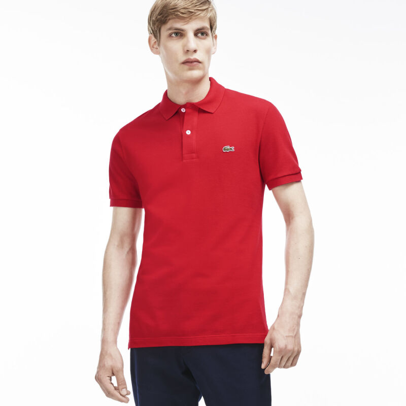 LACOSTE Men's Classic Fit Polo in Petit Pique - Red [S]
