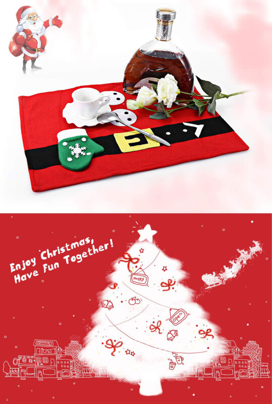 Christmas Food Placemat Glove Pattern Dinner Party Decoration Mat
