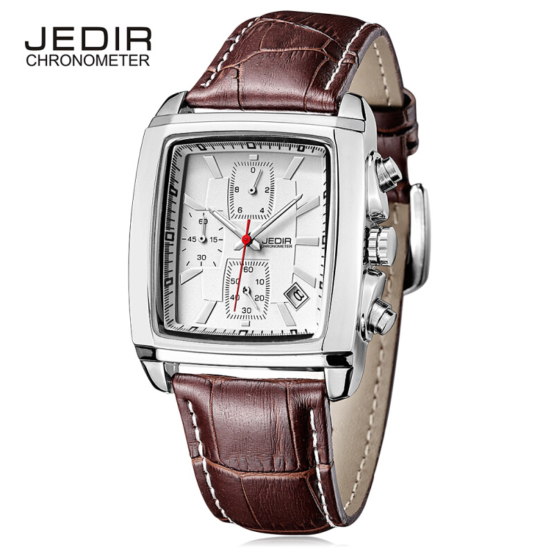 JEDIR 2028 Male Quartz Watch Calendar Stopwatch 3ATM Wristwatch for Men