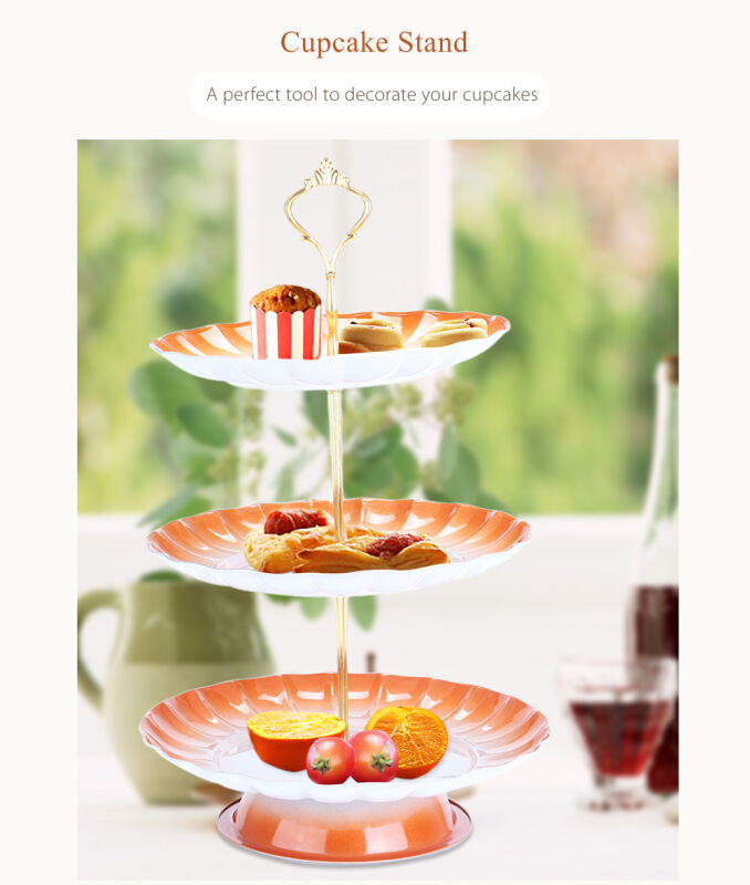 3-tier Stainless Steel Fruit Cupcake Plate Stand Pastry Tray