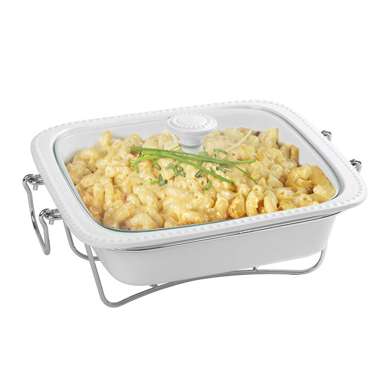 ONEMORE Square Casserole with Warmer 12 inch - 5234H-C207-12G-G
