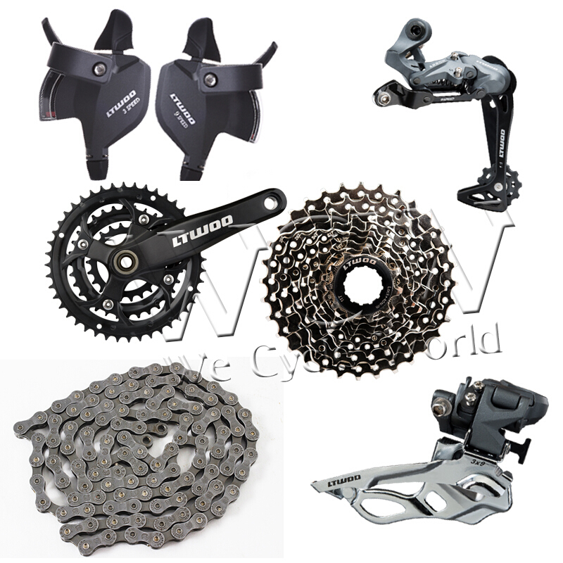 Ltwoo bicycle derailleur MTB A5(27S)3x9 series,Shift Lever,Rear  Derailleur,Front Derailleur,Crankset,Cassette Sprocket,Chain-Matt black