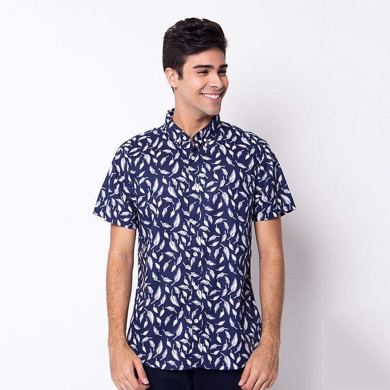 Minarno Feather 001 S/S Shirt Qy - Navy [S]