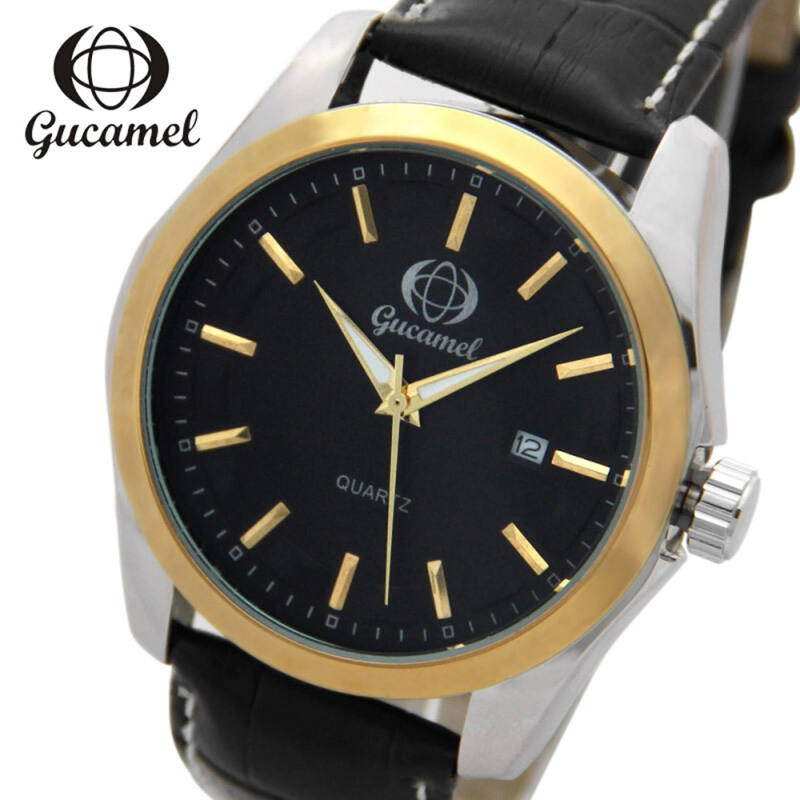 Gucamel B006 Men Quartz Watch Leather Band Date Display Male Wristwatch
