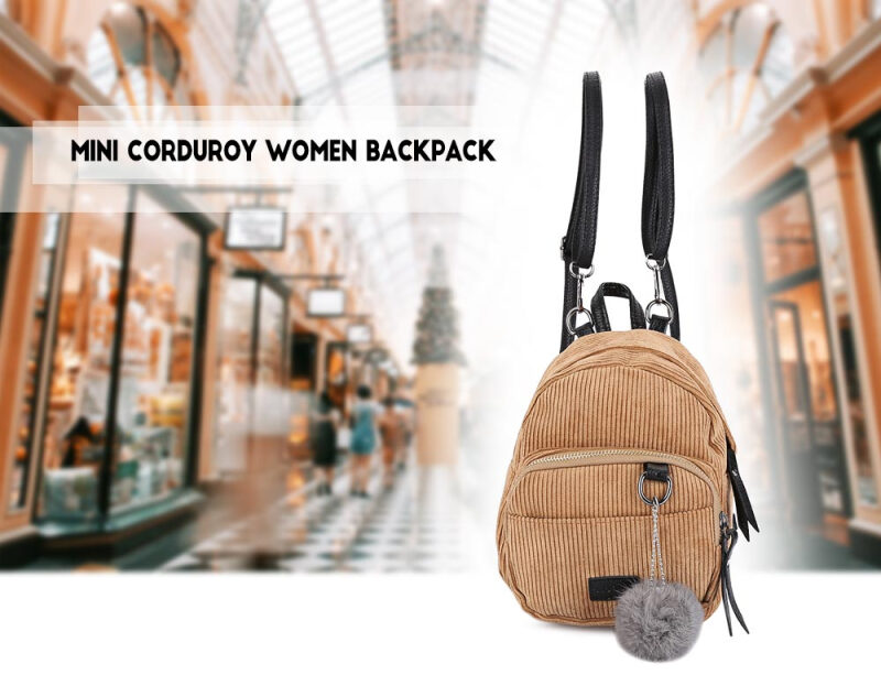 Guapabien Mini Corduroy Fabric Women Backpack Fluffy Ball Shoulder Bag