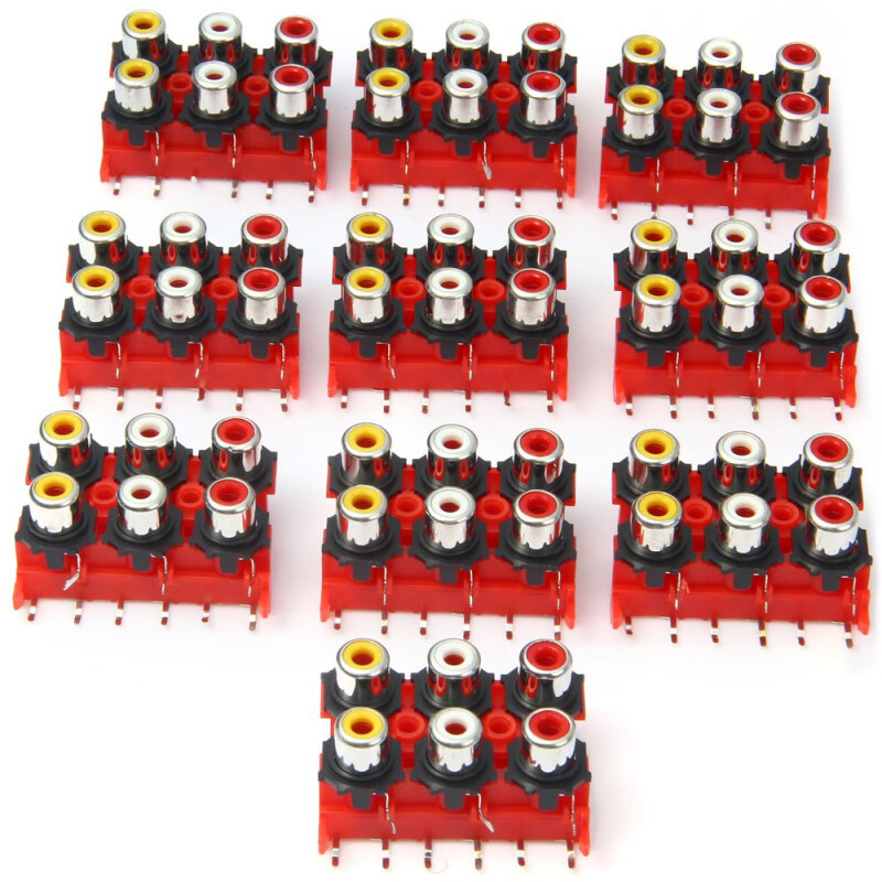 DIY 6 Ports RCA Female Sockets - 10PCS / DC 50V 0.3A