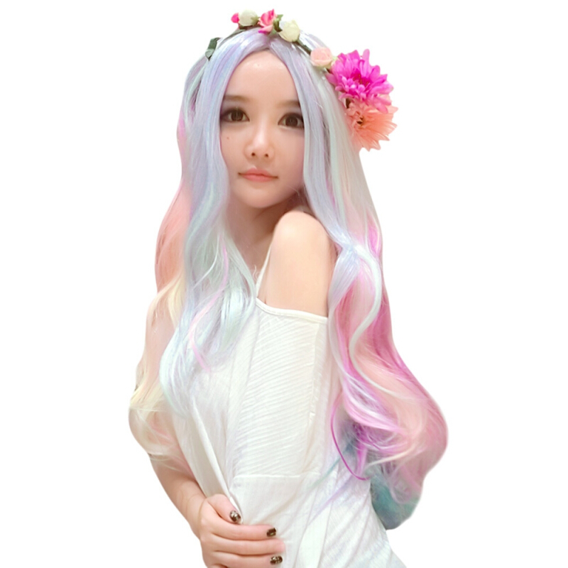 75CM Harajuku Gradient Carved Wigs Heat Resistant False Hair Anime Cosplay Costume Party-COLORMIX
