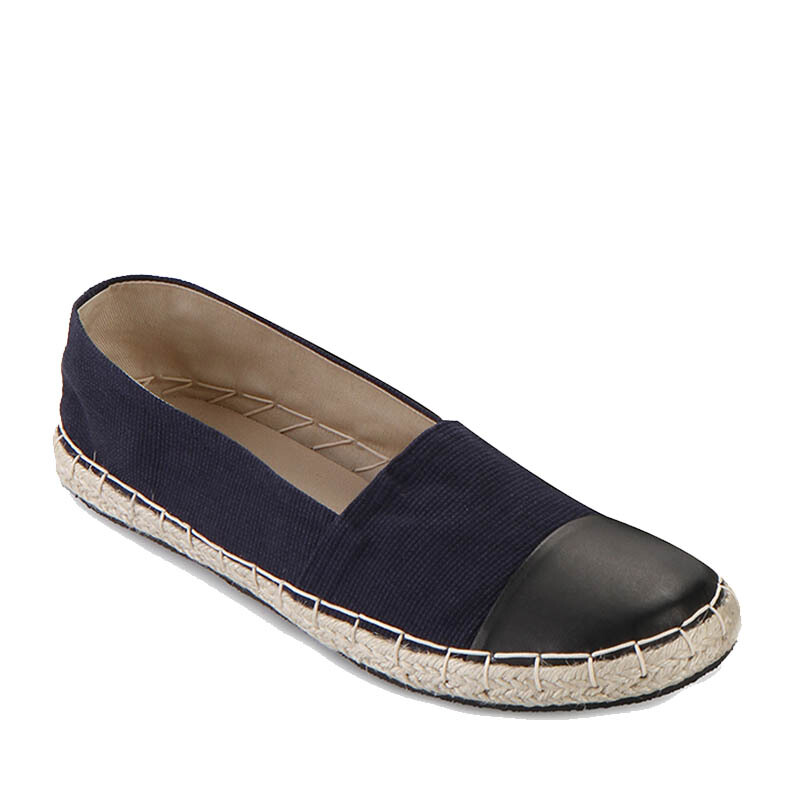 Minarno Blue Women Leather Canvas Espadrilles - Blue [36]