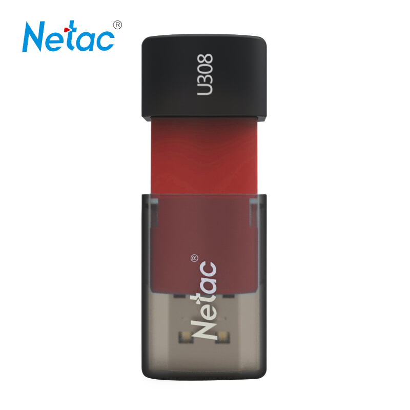 Netac U308 8G Capless Slider USB 3.0 Flash Drive Red