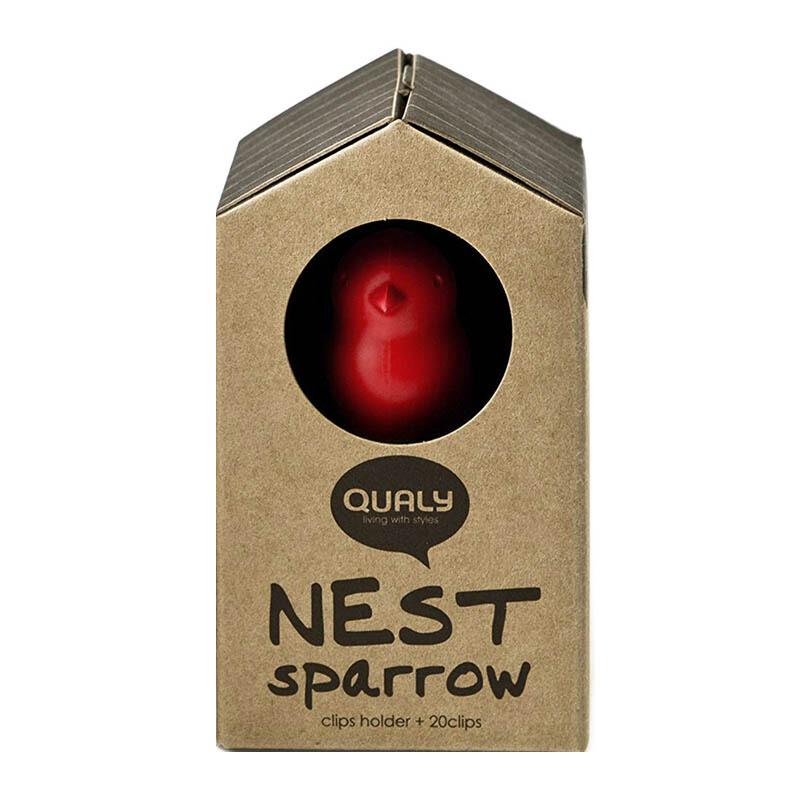 QUALY Paperclips Nest Sparrow - Red/QL10069RD