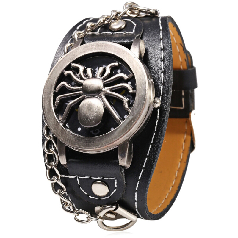 Casual Style Male Quartz Watch with Leather Band