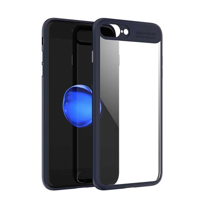 Keymao  Apple iPhone 7 Plus/8 Plus case Full Protective Soft TPU + Acrylic Transparent Back Cover Navy blue