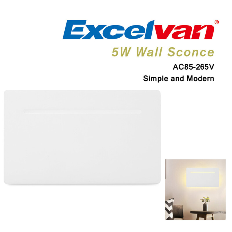 Excelvan 5W Flat Wall Sconce Ceiling Light Wall Lamp Night Light, Modern Simple Indoor Light Fixture Lamp for Hallway Pathway Balcony Bedroom Living Room. Warm White, AC85-265V
