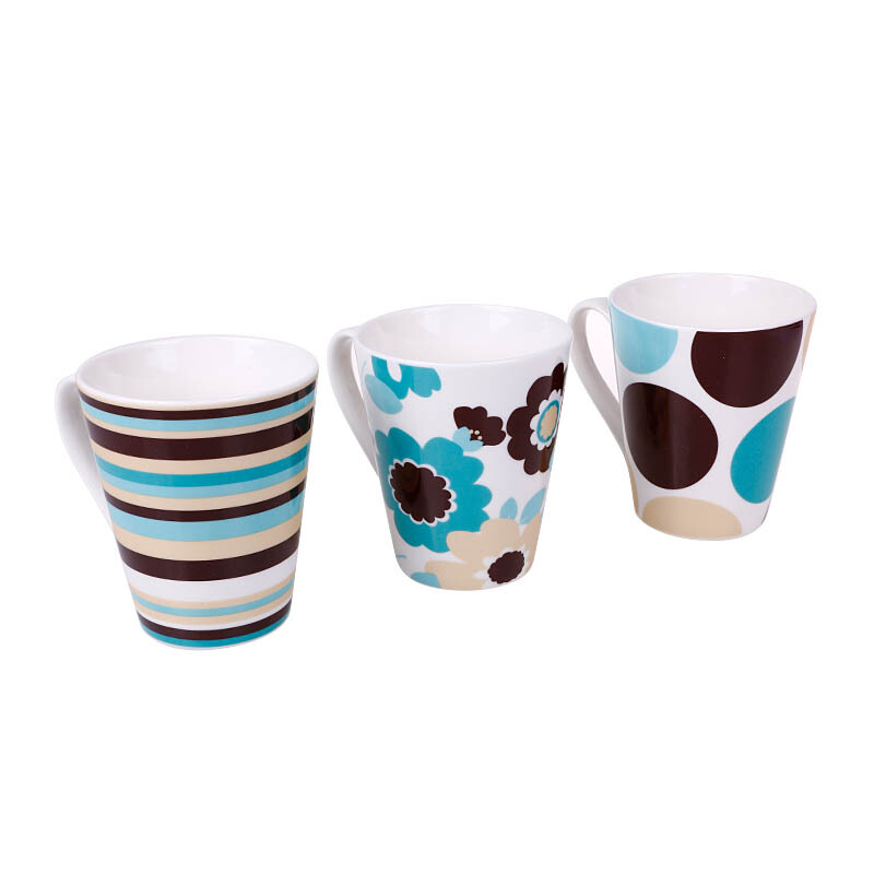 NAKAMI New Bone Mug Blue Flower, Stripe & Circle Set of 3 - NK-TCM003-S160043
