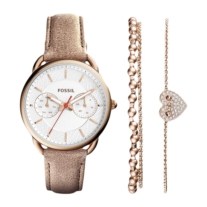 FOSSIL Tailor Silver Dial Ladies Watch with Two Extra Jewelry Set - [ES4021SET]