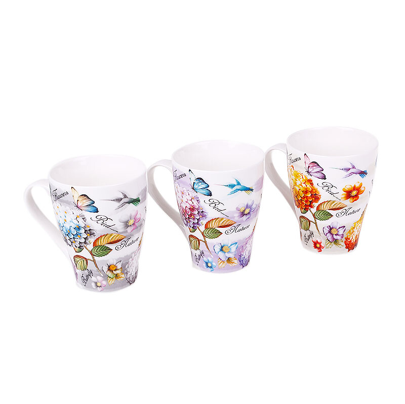 NAKAMI New Bone Mug Flower & Butterfly Set of 3 - NK-TCM031-A052