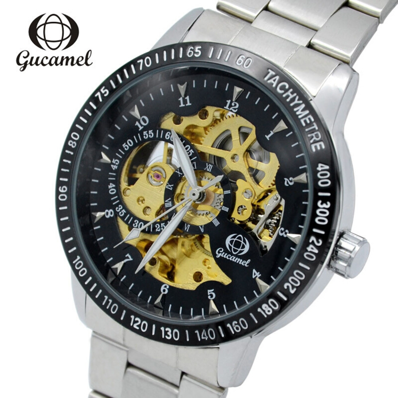 Gucamel G024 Men Auto Mechanical Watch Stainless Steel Band Hollow Dial Luminous Wristwatch