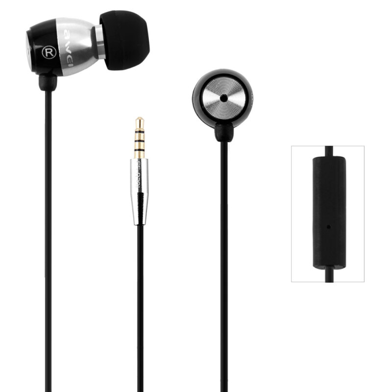 Awei ESQ38i 1.2m Earphone With Mic For Mobile Phone Tablet PC