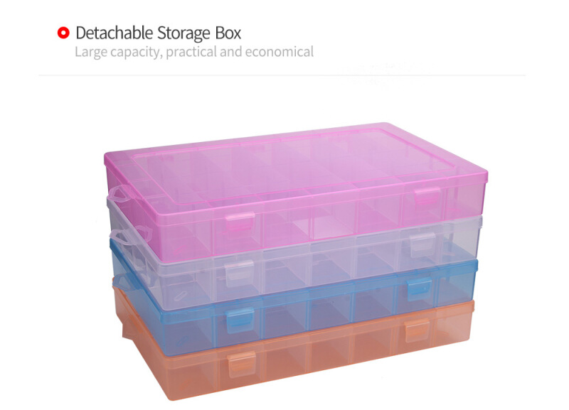 Detachable 28 Compartments Transparent Plastic Jewelry Bead Storage Box