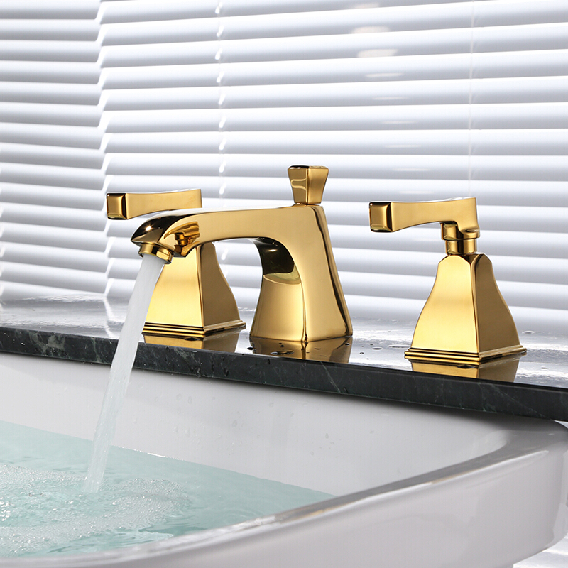 LANGFAN J4827 3PCS Waterfall Washbasin Hot & Cold Water Faucet
